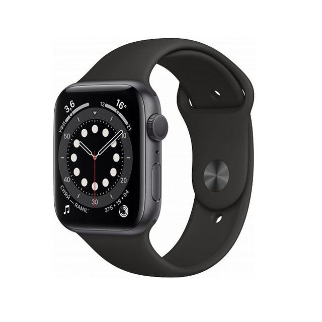 Умные часы Apple Watch Series 6 GPS 44мм Aluminum Case with Sport Band, серый космос/черный